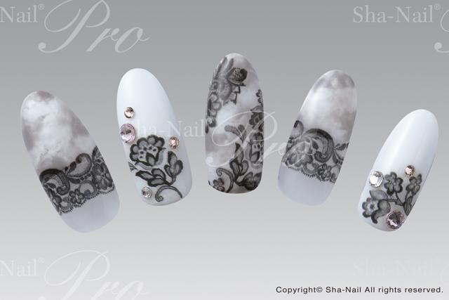 (DM便○)Sha-Nail Pro(写ネイルプロ):ネイルシール リッチレース (ブラック)/RCL-001