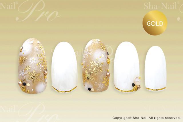 ※在庫処分※(DM便○)Sha-Nail Plus(写ネイルプラス):ネイルシール シャイニングスノーフレークス (ゴールド)/SHS-PG