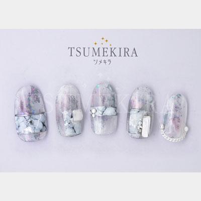 TSUMEKIRA noble(ツメキラノーブル) ネイルシール マーブルパーツ(ホワイト×シルバー)/NO-MAR-101