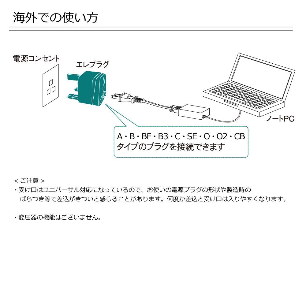 RWG-P001 海外用 電源変換プラグ エレプラグ (Aタイプ) [ROAD WARRIOR]