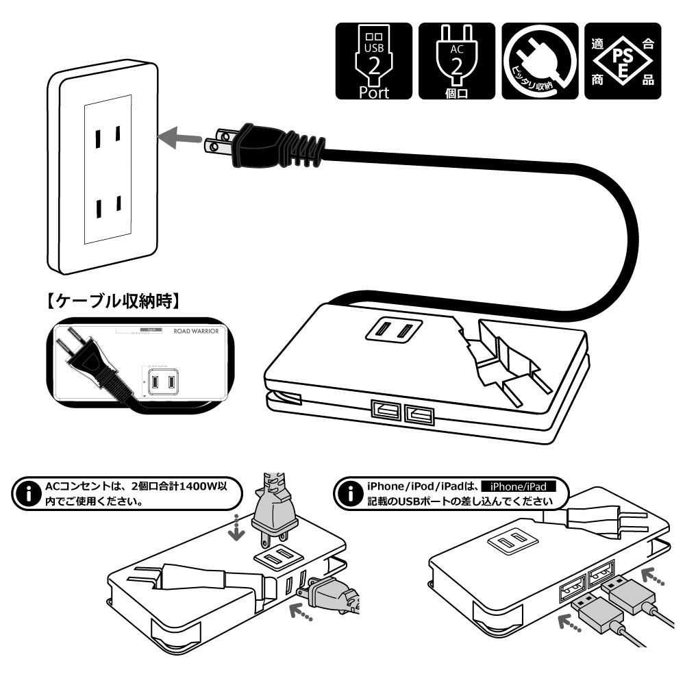 RWG112 モバイル USB + AC タップ [ROAD WARRIOR]