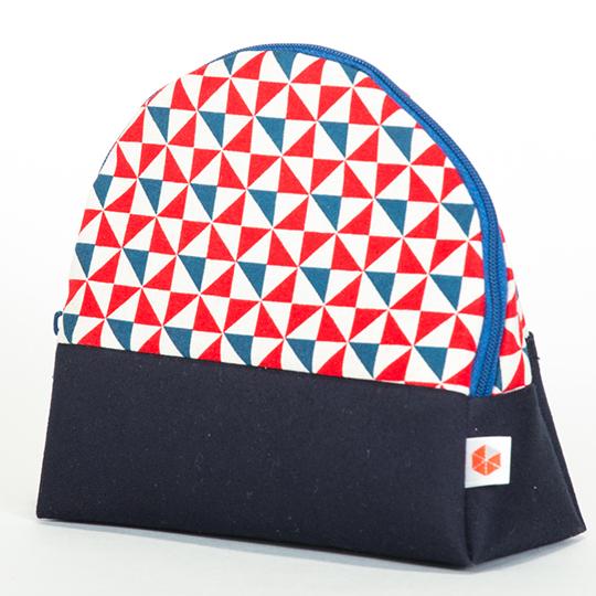 縦収納メイクポーチ スッと出し入れ 仕切り多い コンパクト 自立 ギフト 化粧 コスメ sussu kaza-blue