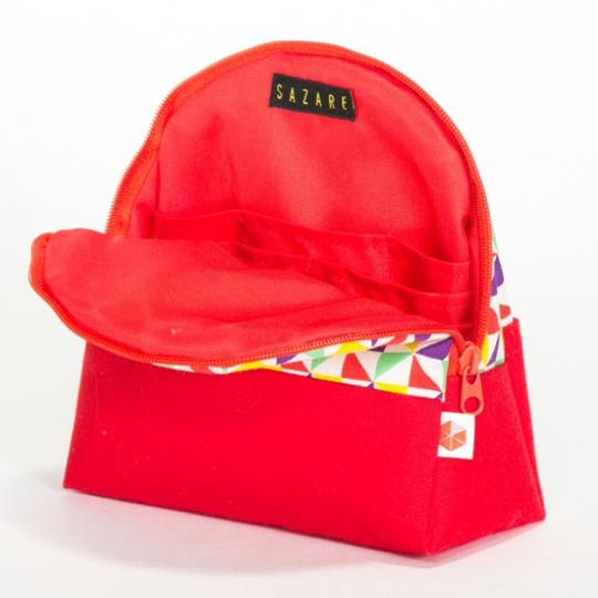 縦収納メイクポーチ スッと出し入れ 仕切り多い コンパクト 自立 ギフト 化粧 コスメ sussu kaza-red