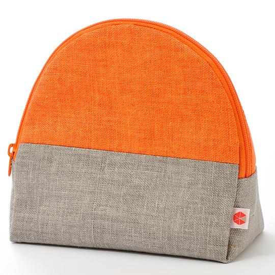 縦収納メイクポーチ スッと出し入れ 仕切り多い コンパクト 自立 ギフト 化粧 コスメ sussu オレンジグレー