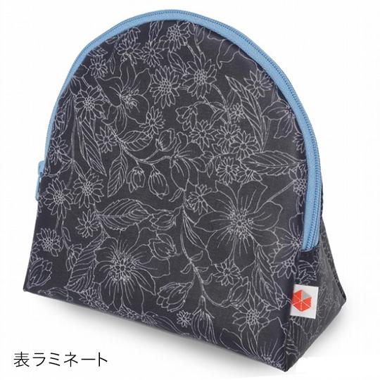 縦収納メイクポーチ スッと出し入れ 花柄 仕切り多い コンパクト 自立 ギフト 化粧 コスメ sussu フラワーネイビー