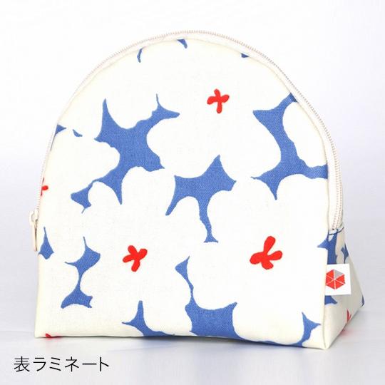 縦収納メイクポーチ スッと出し入れ 花柄 仕切り多い コンパクト 自立 ギフト 化粧 コスメ sussu ホワイトブルー