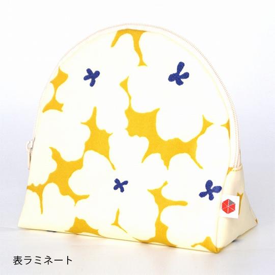 縦収納メイクポーチ スッと出し入れ 花柄 仕切り多い コンパクト 自立 ギフト 化粧 コスメ sussu ホワイトイエロー