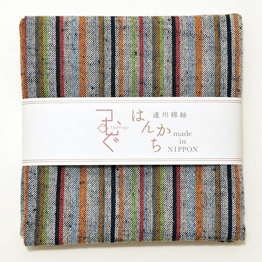 遠州綿紬 ハンカチ5枚セット 静岡土産 ギフトにもオススメ お祝いやお返しに ぬくもり工房 日本色 5色アソートセット