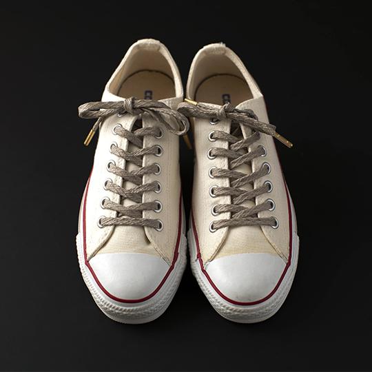 靴ひも  グレージュ スニーカー  シューズ メンズ レディース おしゃれ 蝋引き加工  ワッフルシューレース WAFFLE SHOE LACE /GREIGE
