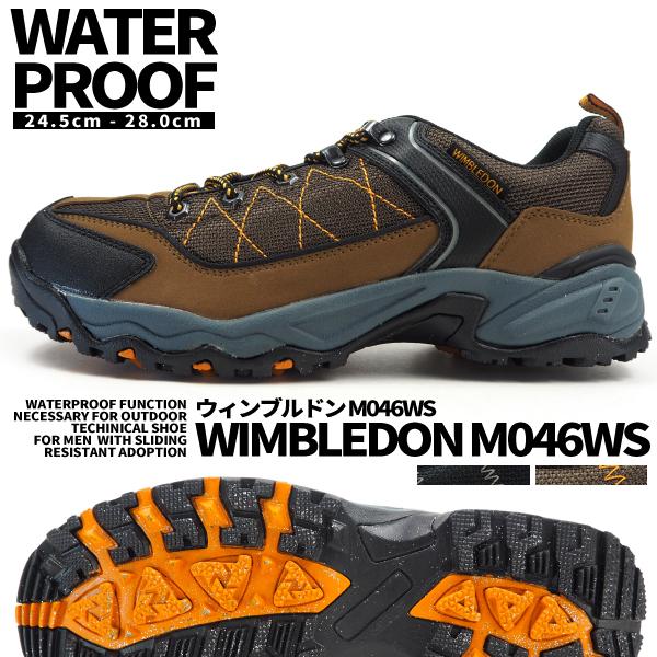 カジュアルシューズ   メンズ ウィンブルドン M046WS 防水 ウォーキング スニーカー トレッキングシューズ 幅広 4E 耐滑 外反母趾 WIMBLEDON ミリタリー