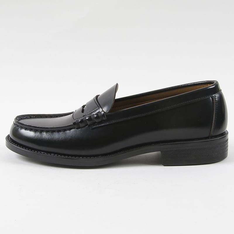 送料無料!☆ハルタ HARUTA 送料無料 6550 ローファー メンズ コインローファー 通学靴 学生靴 ブラック 24.5〜28cm 革靴 人工皮革 幅広 3E 日本製