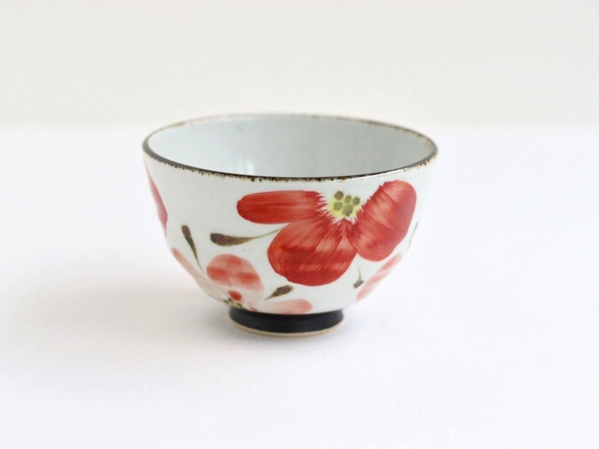 花々 茶碗 小(赤)