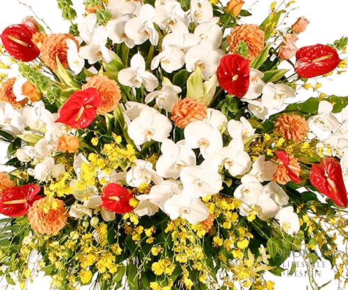 【スタンド生花】御祝生花スタンド(超特大) オレンジ×ホワイト系