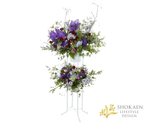 【スタンド生花】御祝生花スタンド(和風スタンド生花オーダータイプ) 紫・赤系