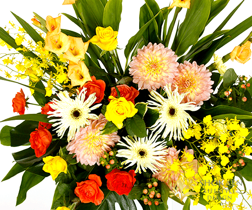 【スタンド生花】御祝生花スタンド(2段タイプ) イエローオレンジ系