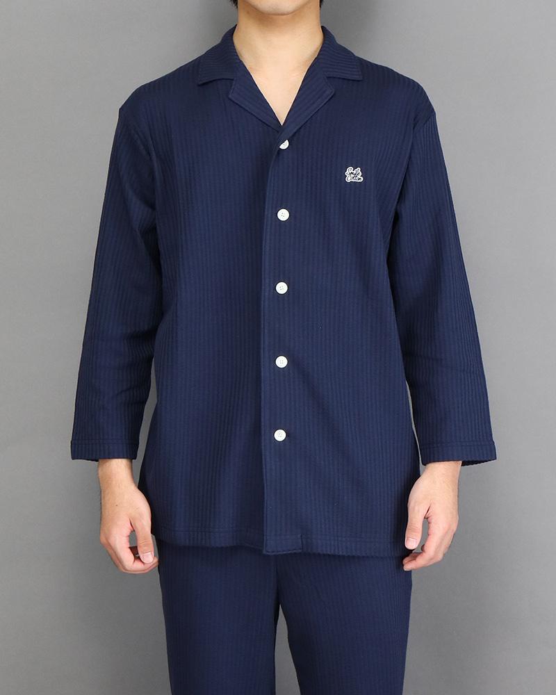 七分袖メンズパジャマシャツ ネイビー