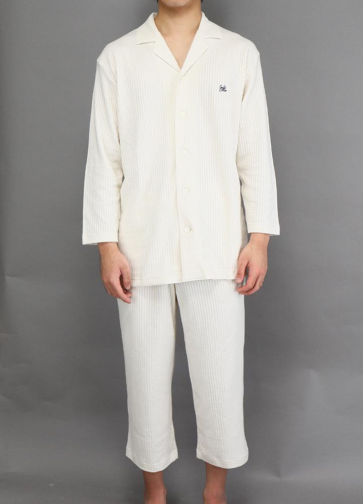 七分袖メンズパジャマシャツ ライトベージュ