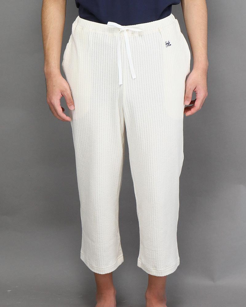 七分丈メンズパジャマパンツ ライトベージュ