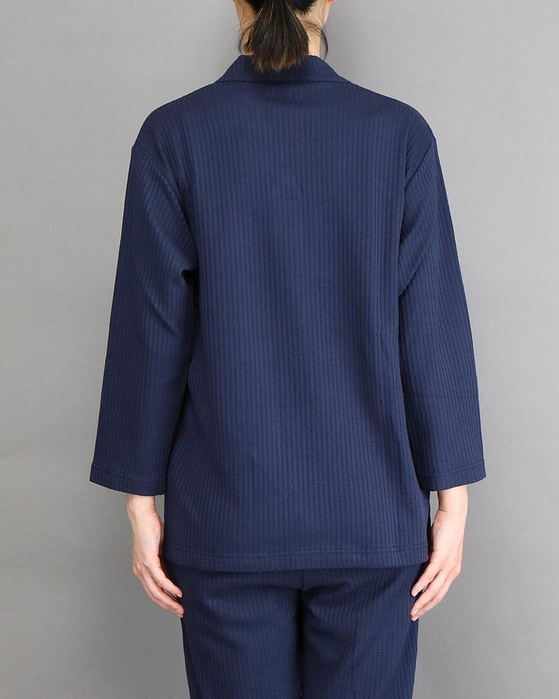 七分袖レディースパジャマシャツ ネイビー