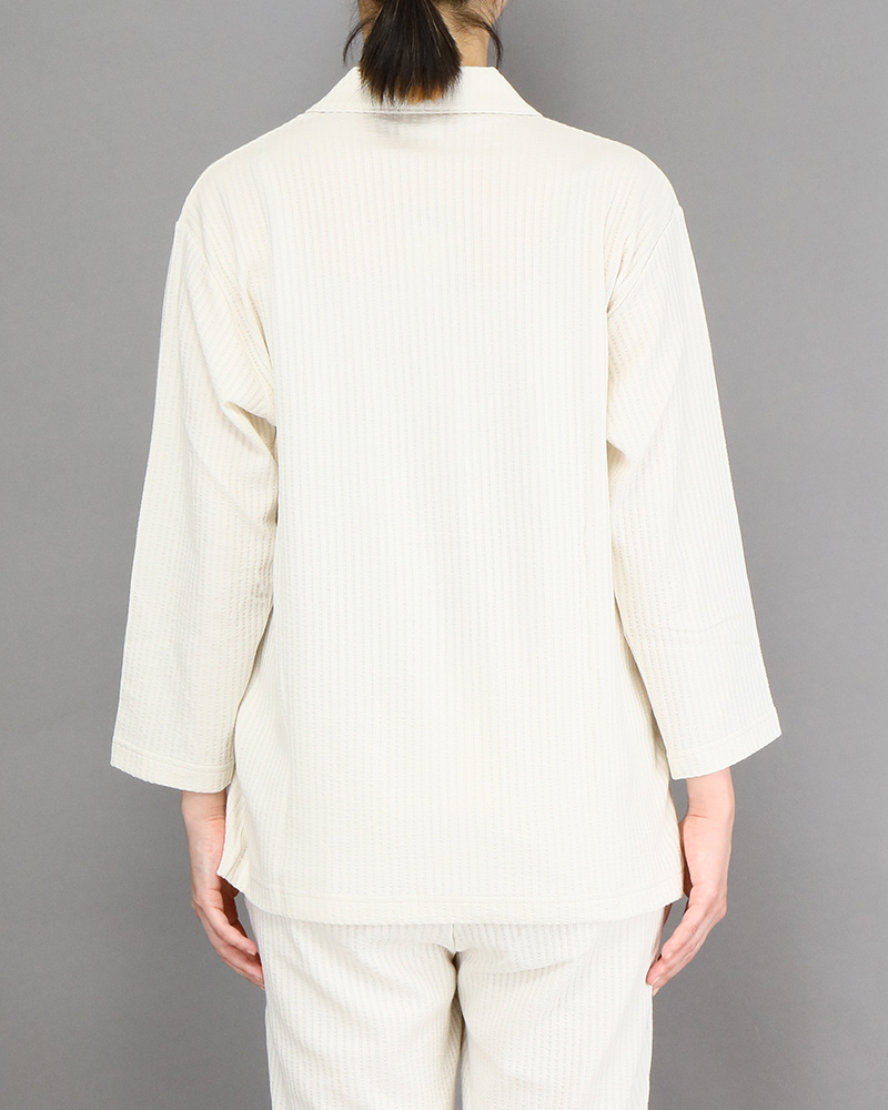 スマイルコットン:七分袖レディースパジャマシャツ ライトベージュ