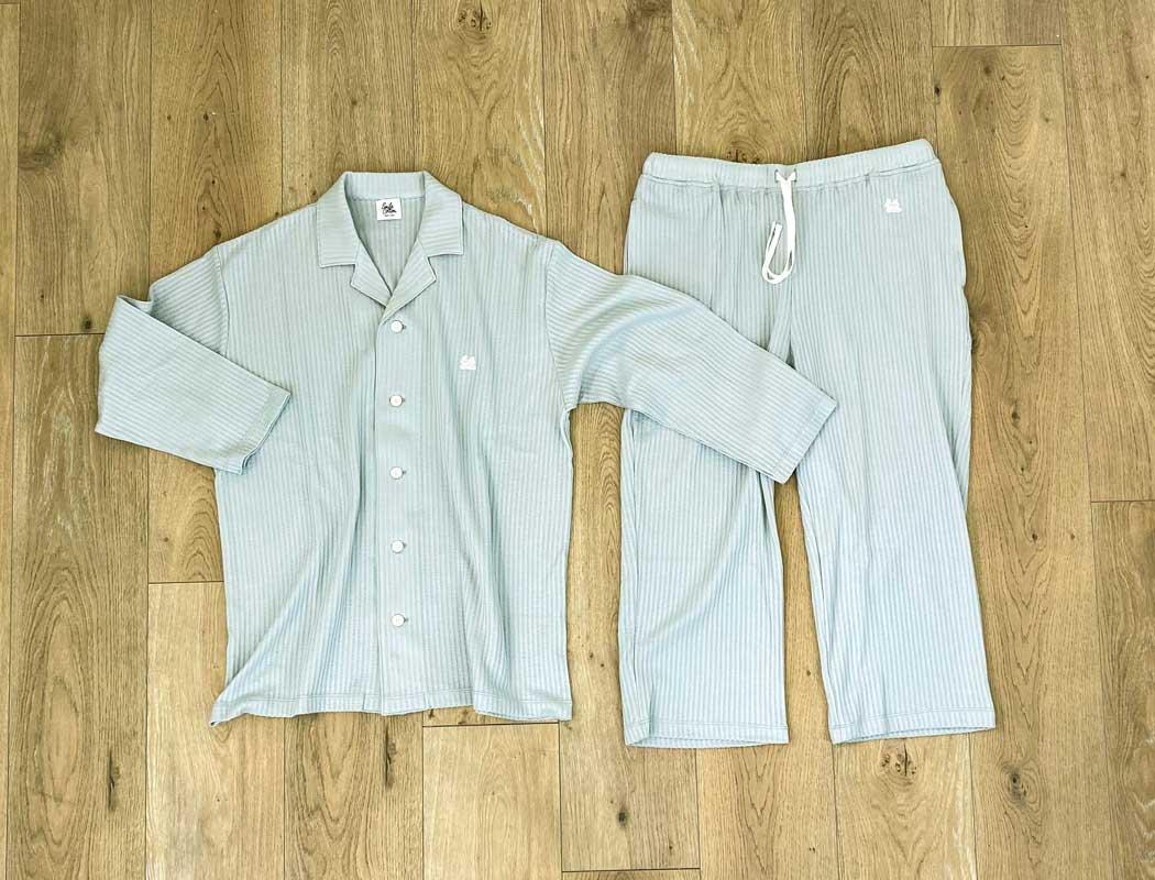 七分袖パジャマシャツ ミントグレー