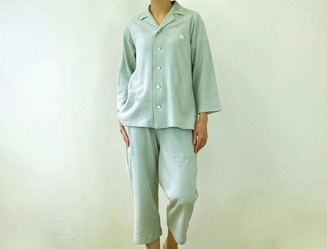 スマイルコットン:七分丈パジャマパンツ ミントグレー