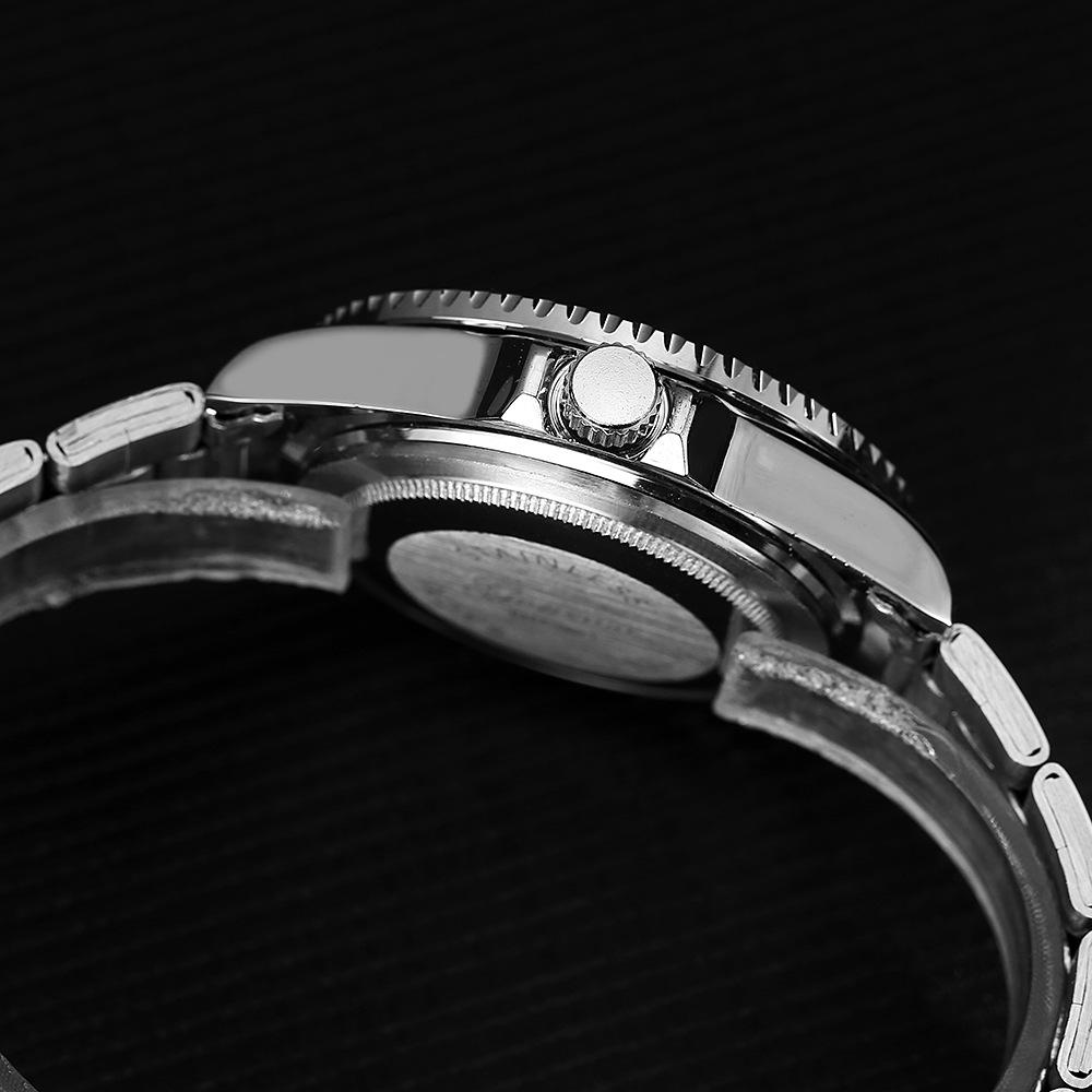 新品 送料込み メンズ ビジネス クォーツ 腕時計 シルバー×黒赤