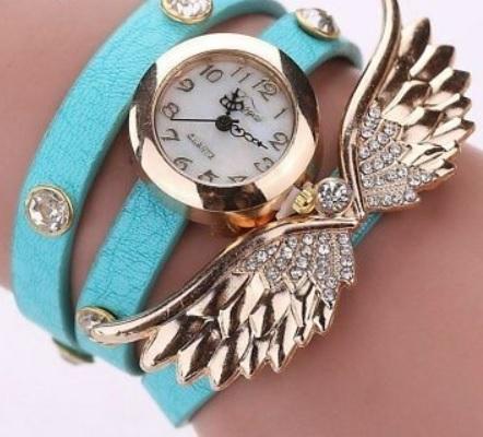 ブレスレット風 フェザー シェル レディース 腕時計 カジュアル 水色