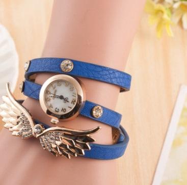 ブレスレット風 フェザー シェル レディース 腕時計 カジュアル 青色
