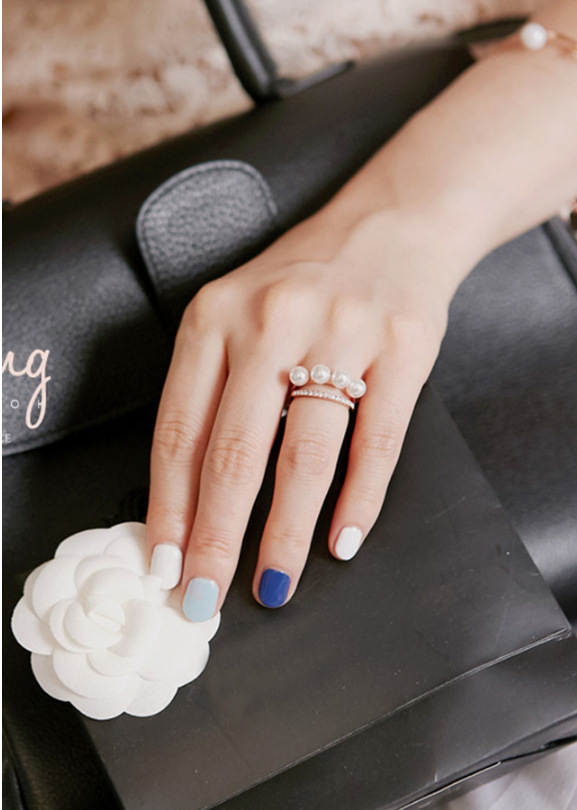 ☆即日発送☆ピンクゴールド パールリング☆指輪 フリーサイズ
