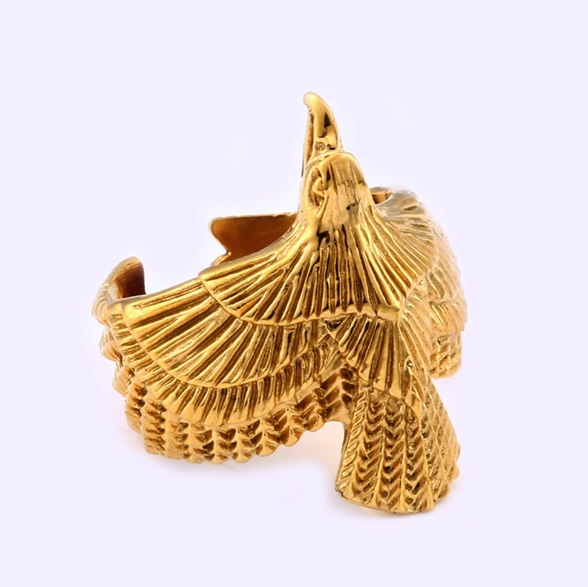 新品 イーグル 希少 チタン銅 ゴールド リング ラグジュアリー彫り メンズ