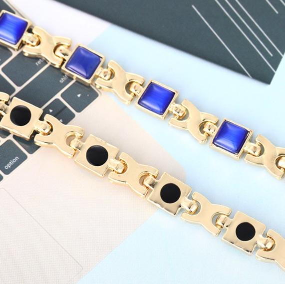 新品 ゲルマニウム 磁気 高品質 ジオメトリー レディース ブレスレット ブルー