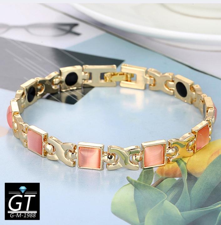 新品 ゲルマニウム 磁気 高品質 ジオメトリー レディース ブレスレット ライトピンク