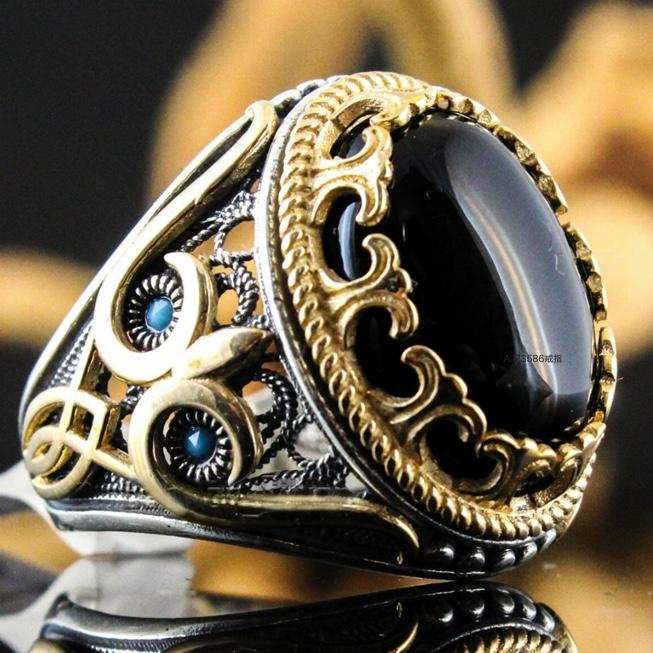新品 ラグジュアリー 彫メンズ 指輪 コンビ ブラック オニキス風
