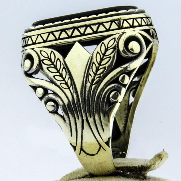 新品 ラグジュアリー 彫 指輪 シルバー ブラック オニキス風 メンズ