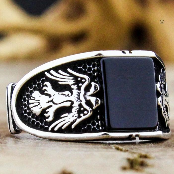 新品 ラグジュアリー 彫メンズ 指輪 シルバー ブラック オニキス風 イーグル