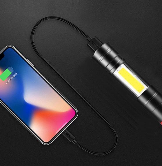 USBケーブル付き★懐中電灯 led USB充電式 強力 防水 携帯電話充電 アウトドア