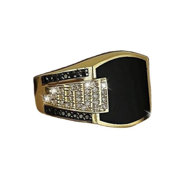 新品 ラグジュアリー 彫 指輪 シルバー ラインストーン ブラック オニキス風 メンズ