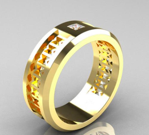 【新作】在庫わずか☆ゴールド ジルコニア リング メンズ 指輪☆男女兼用