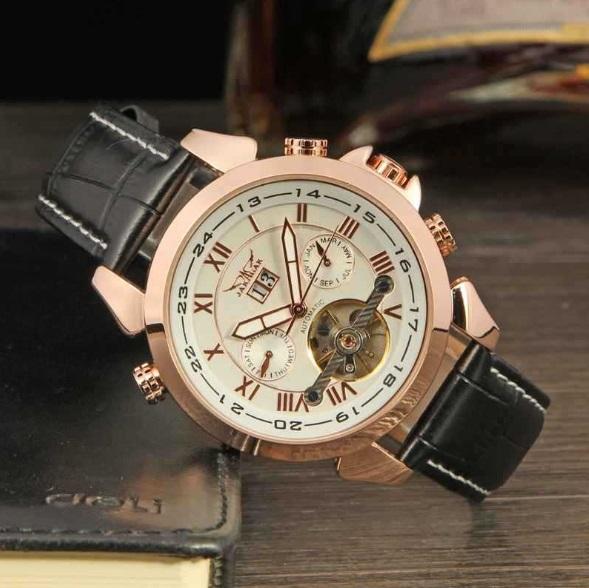 新品  JARAGAL インナーベゼル自動巻きクロノグラフ腕時計【全針稼動の本格仕様】白