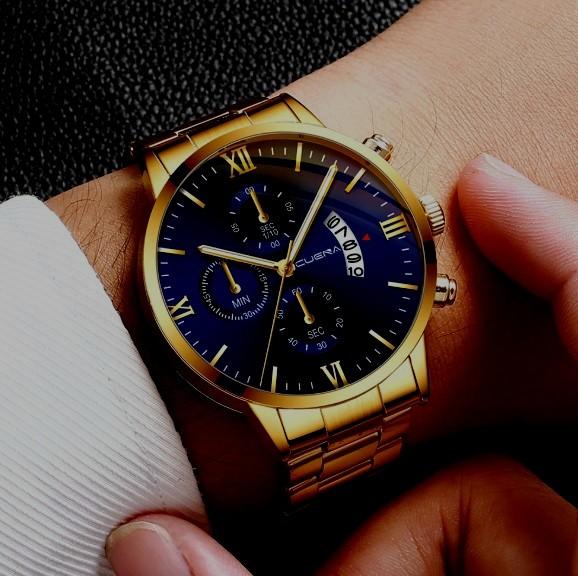 新品 デュアルタイプ★CUENA★ 腕時計メンズ ラグジュアリーゴールド