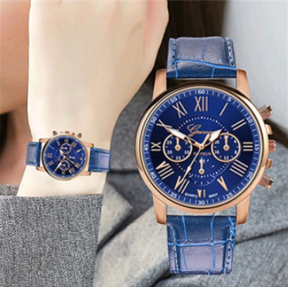 コスパ最強☆GENEVA☆ 男女兼用 クロノグラフ 腕時計 ブルー×ゴールド