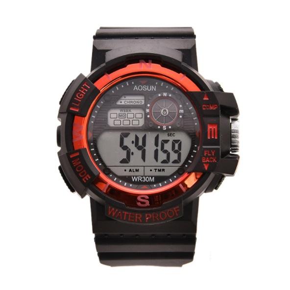 新品 送料無料 デジタル腕時計多機能 ボーイズ(キッズ)から大人まで 黒×赤
