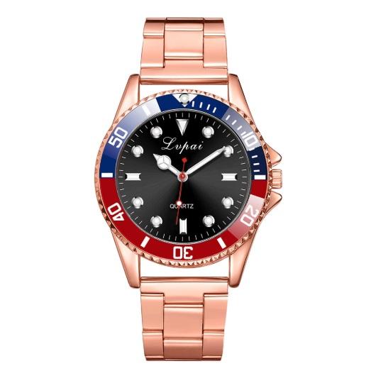 新品 送料込み メンズ ビジネス クォーツ 腕時計 ゴールド×青赤黒