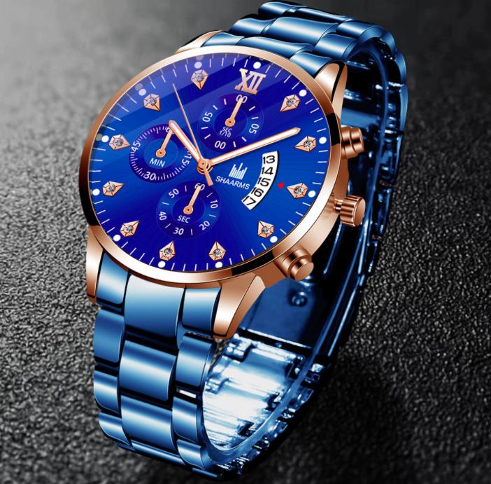 15新品 腕時計メンズ★ラグジュアリー ブルー ★お洒落 箱付き