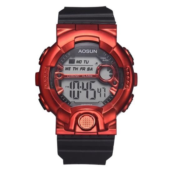 新品 送料無料 AOSUN 腕時計デジタル多機能LEDブラック×メタルレッド