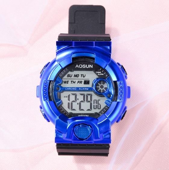 新品 送料無料 AOSUN 腕時計デジタル多機能LEDブラック×メタルブルー
