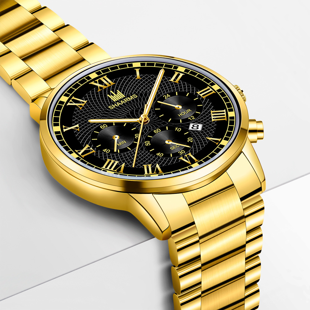3新品 腕時計メンズ★ラグジュアリーゴールド ★お洒落 箱付き