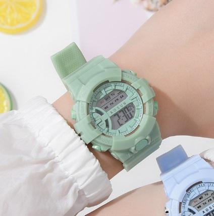 新品 AOSUN レディース&ガールズ 腕時計デジタル多機能LED ミント