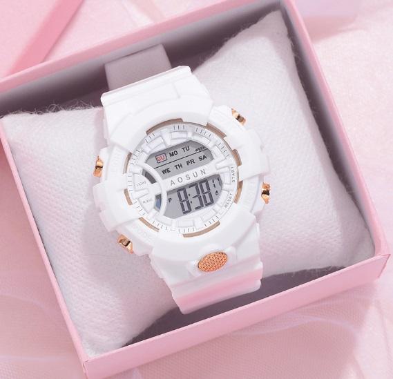 新品 AOSUN レディース&ガールズ 腕時計デジタル多機能LED ホワイト